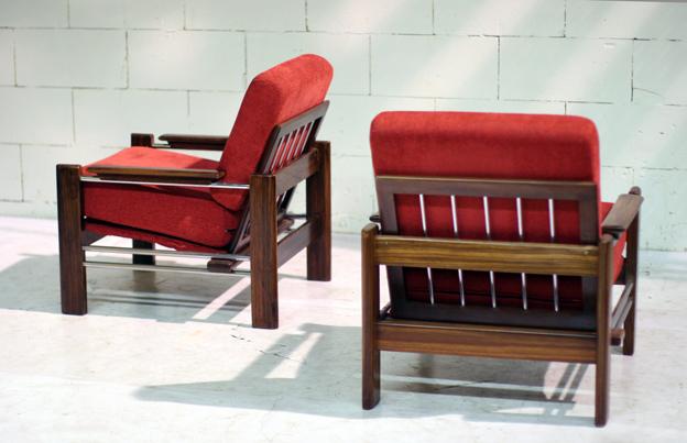 Vintage fauteuils palissander en chroom u dehuiszwaluw