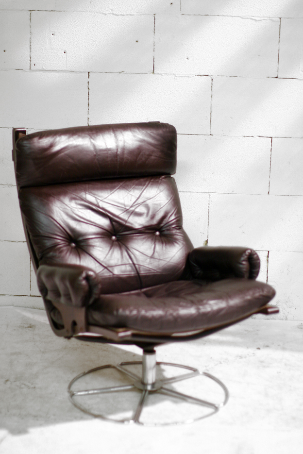 Retro vintage leren stoere draai fauteuil deens - Fauteuil retro ...