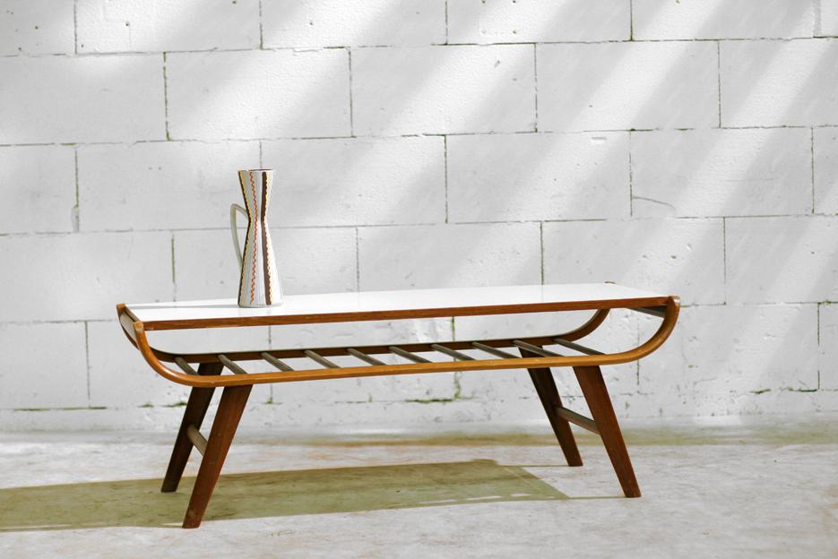 Prachtige Retro Vintage salontafel met omkeerbaar blad  u2013 Dehuiszwaluw