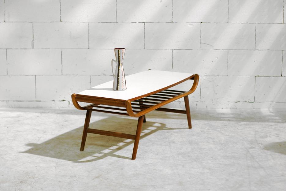 Prachtige Retro Vintage salontafel met omkeerbaar blad   Dehuiszwaluw