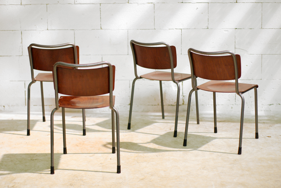 Industriele retro vintage t h delft gispen schoolstoelen for Vintage stoelen