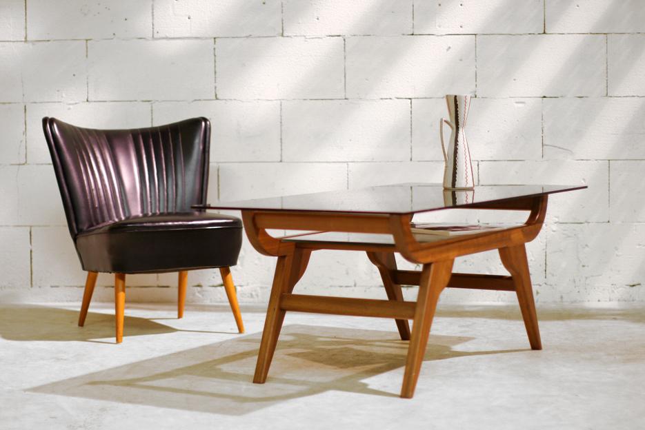 Retro Vintage salontafel teakhout en glas jaren 60  u2013 Dehuiszwaluw