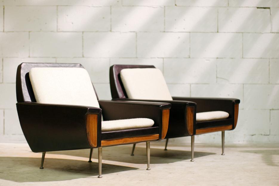 top retro vintage fauteuils met palissander jaren 60 dehuiszwaluw. Black Bedroom Furniture Sets. Home Design Ideas