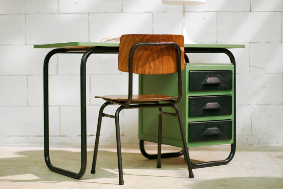 Industrieel vintage frans bureau jaren 60 u2013 dehuiszwaluw