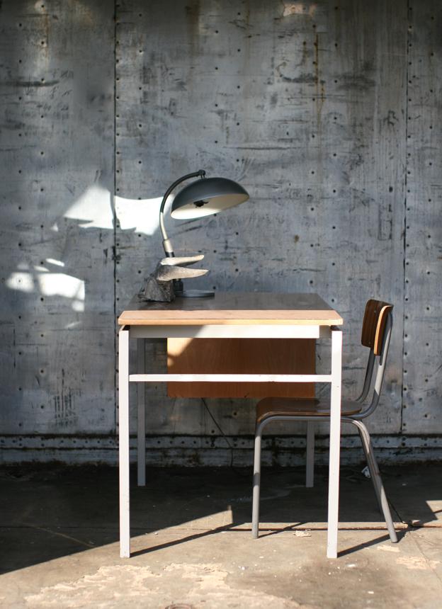 Industrieel vintage bureau uit de jaren 60 van staal en for Ladenblok marktplaats