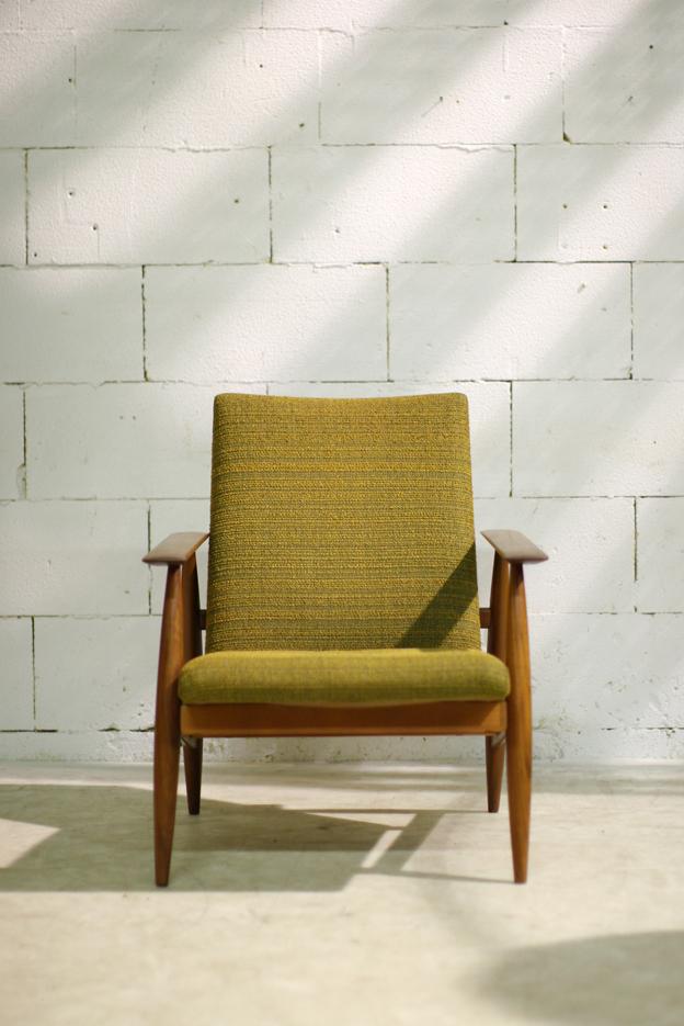 Retro vintage dames fauteuil met teakhouten frame jaren 60 dehuiszwaluw - De meest comfortabele fauteuils ...