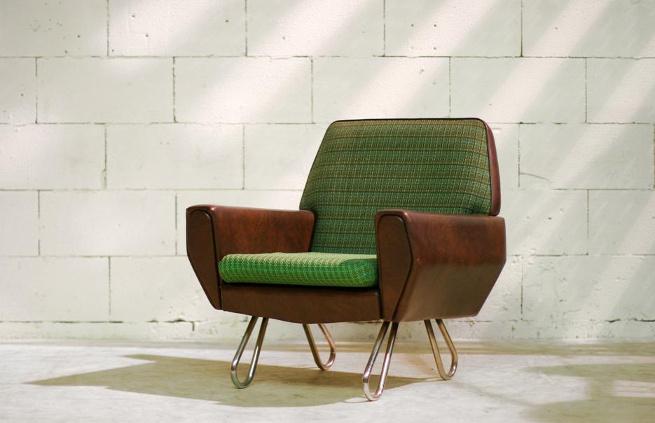 retro vintage fauteuil jaren 60 op metalen luspoten dehuiszwaluw. Black Bedroom Furniture Sets. Home Design Ideas