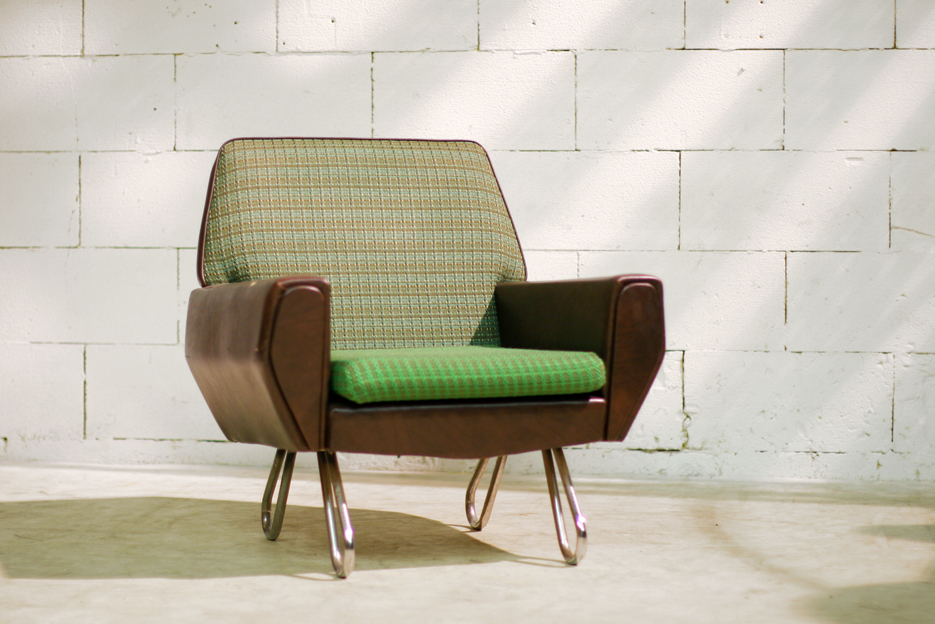 Retro vintage fauteuil jaren 60 op metalen luspoten dehuiszwaluw - De meest comfortabele fauteuils ...