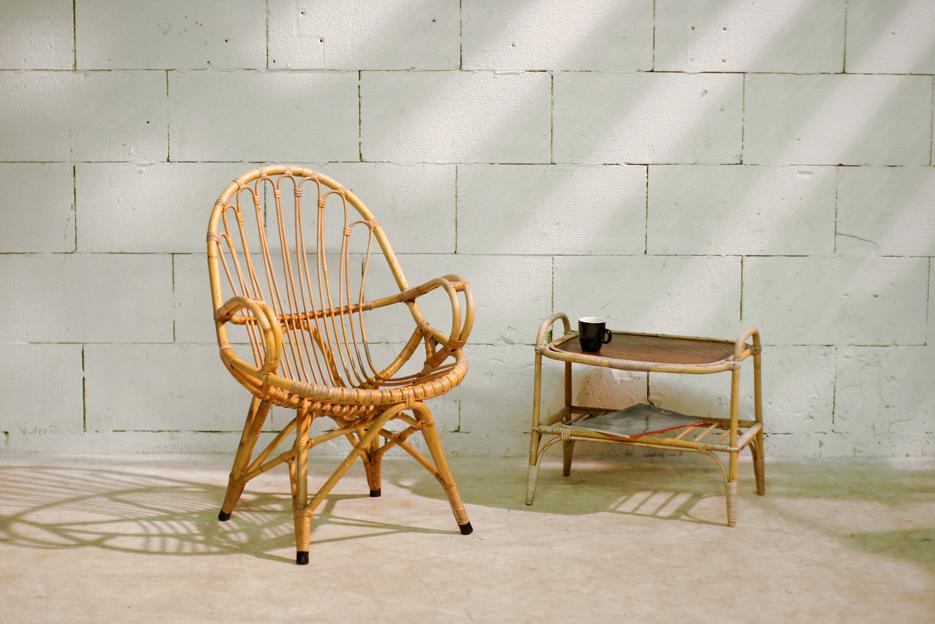 Retro vintage rohe kuip fauteuil eames achtig onderstel dehuiszwaluw - Rotan stoel van de wereld ...
