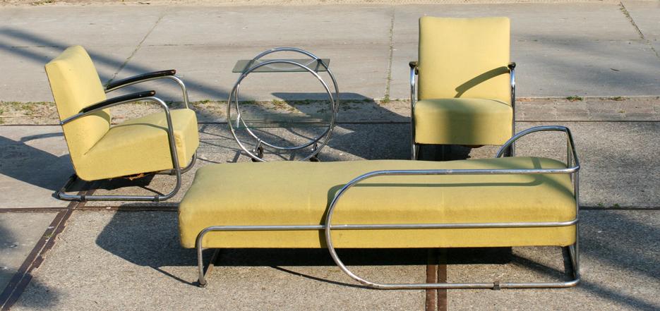 Museaal Bauhaus sofa, fauteuils en tafel jaren 30  u2013 40  u2013 Dehuiszwaluw