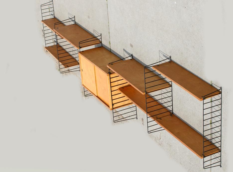 retro vintage nisse string wandsysteem met kast jaren 50 dehuiszwaluw. Black Bedroom Furniture Sets. Home Design Ideas