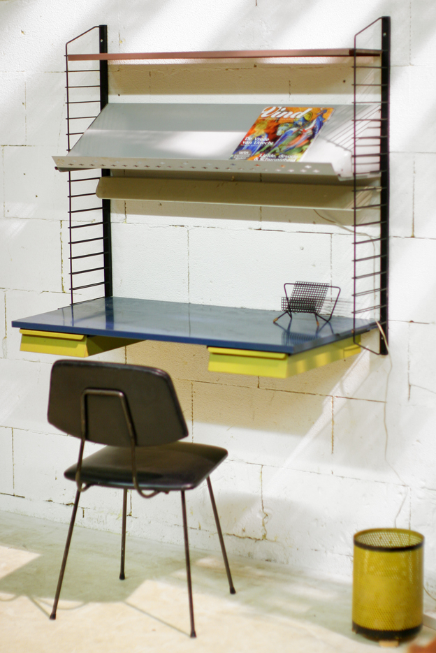 retro vintage pilastro bureau met verlichting jaren 60