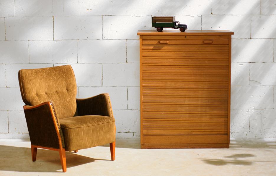 Retro vintage roldeurkast met veel lades pastoe jaren 60 for Jaren 60 meubelen