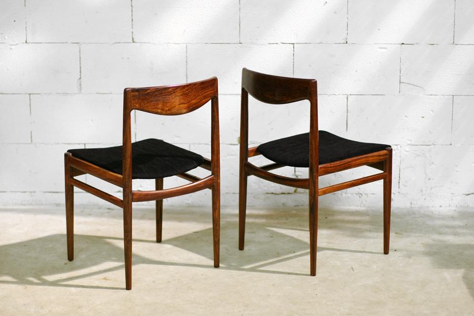 Retro Vintage Palissander stoelen nieuwe stoffering nr. 3- 4 ...