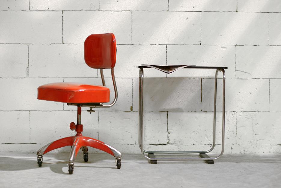 Industrieel vintage bureaustoel jaren 50 rood chroom for Bureaustoel vintage