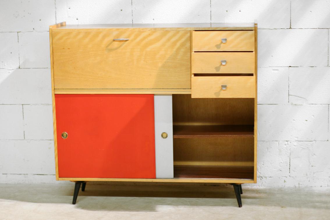 zeldzaam retro vintage highboard of hoog dressoir jaren 50 dehuiszwaluw. Black Bedroom Furniture Sets. Home Design Ideas