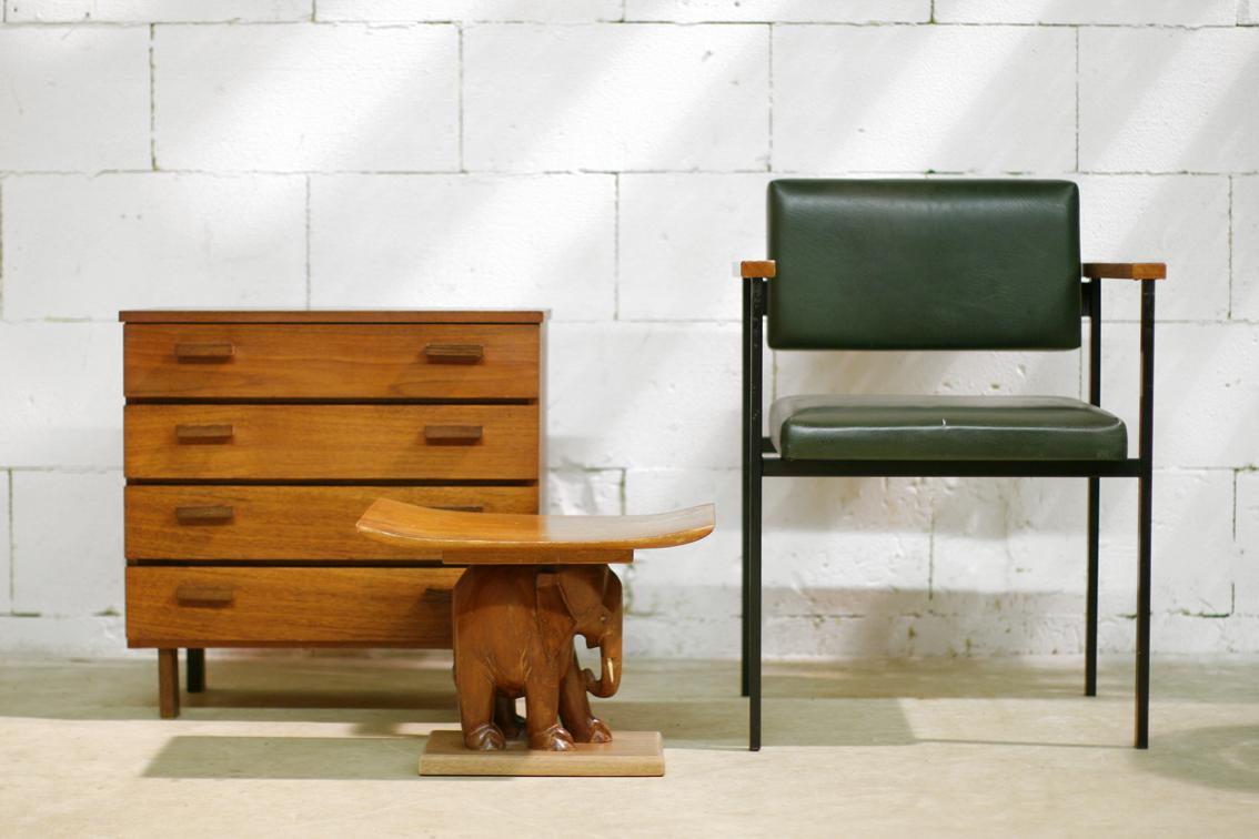 Retro Vintage Strak Wenge en teakhouten ladekast jaren 60  u2013 Dehuiszwaluw