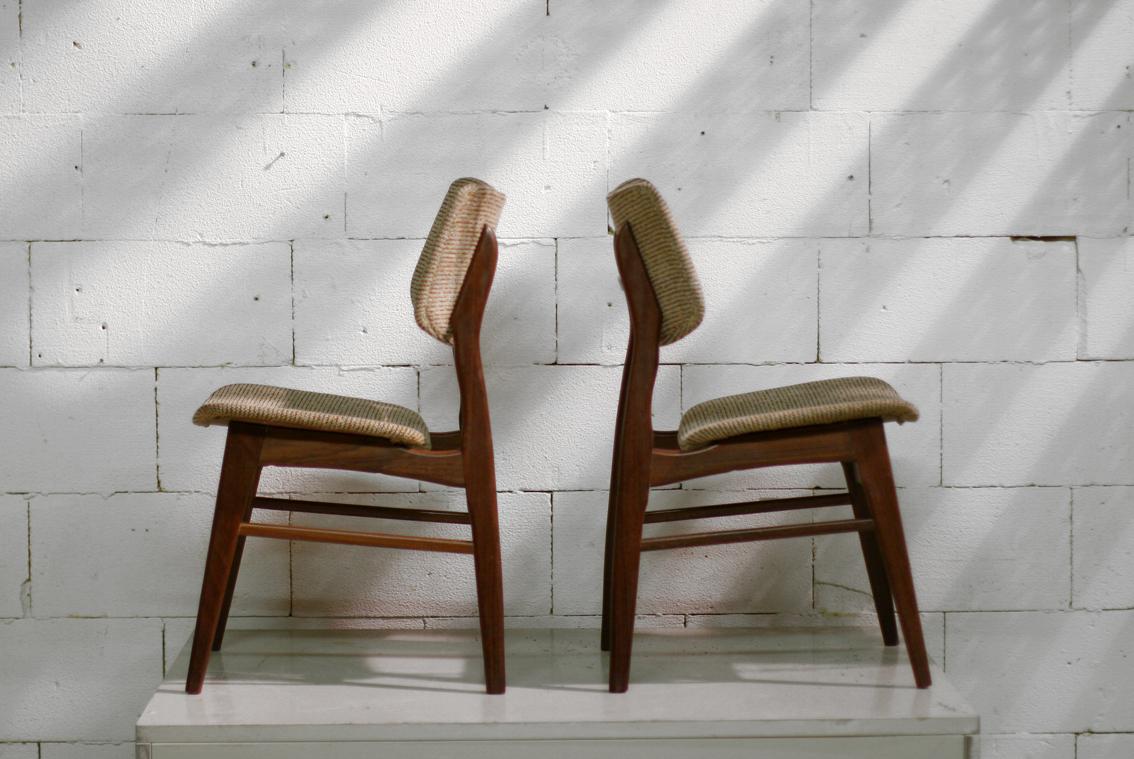 2 Retro Vintage Teakhouten stoelen royale zit jaren 60  u2013 Dehuiszwaluw