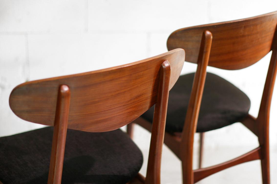 TOP Retro Vintage Teakhout stoelen jaren 50 zwarte zitting  u2013 Dehuiszwaluw