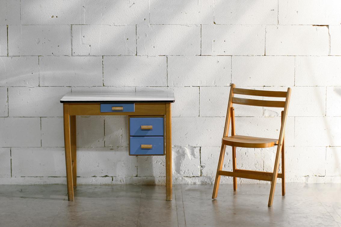 Retro vintage bureautje of bijzet met verschuifbaar for Het ladeblok