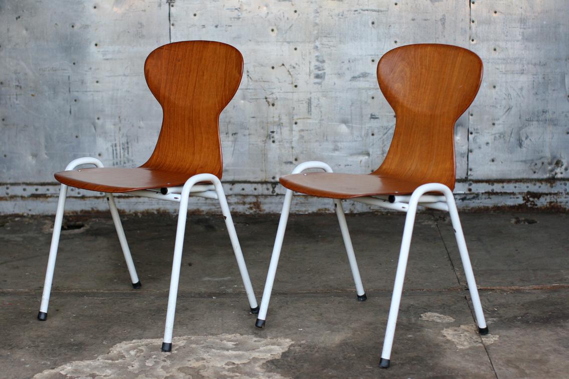 Top industrieel vintage obo eromes schoolstoelen wit frame pagholz
