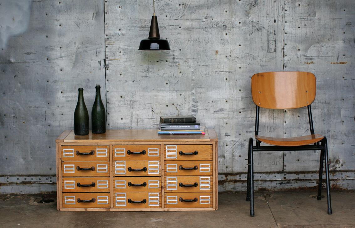 Industrieel Vintage Ladenkast – Dressoirtje Apothekerskastje ...