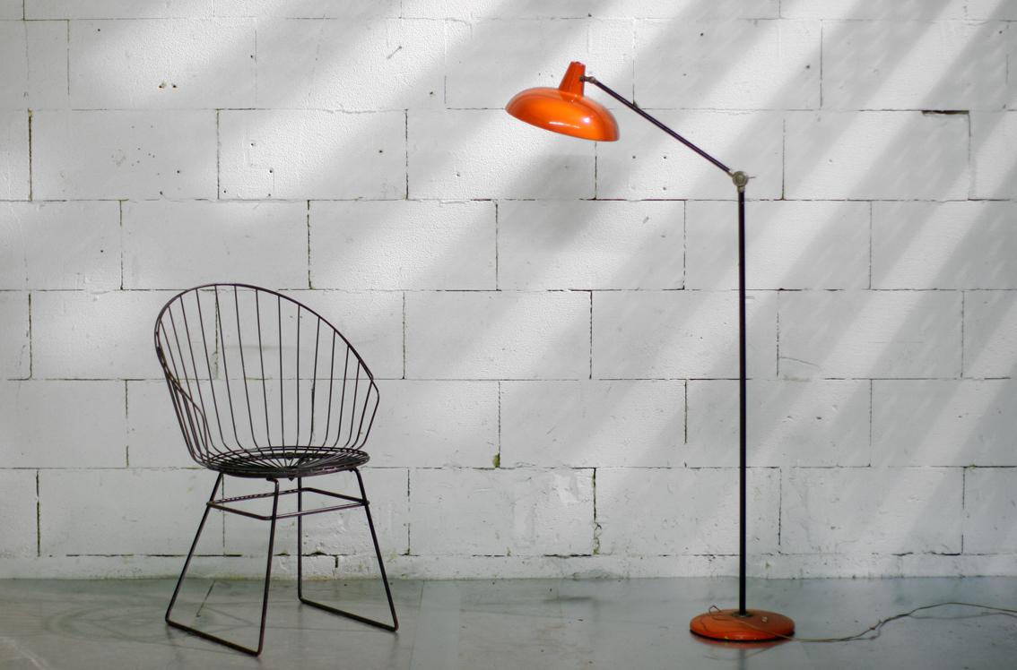 Retro Vintage Metalen Staande Lamp Oranje Jaren 50 60
