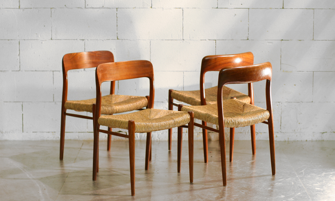 Retro Vintage Niels O Moller model 75 stoelen in topstaat ...
