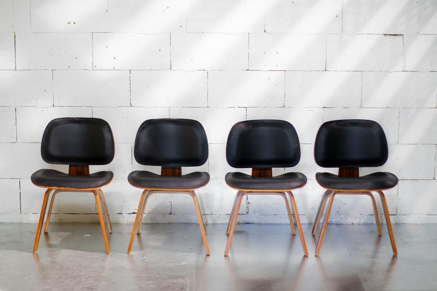 Plywood en Zwart Skai Eames Lookalike design stoelen u2013 Dehuiszwaluw