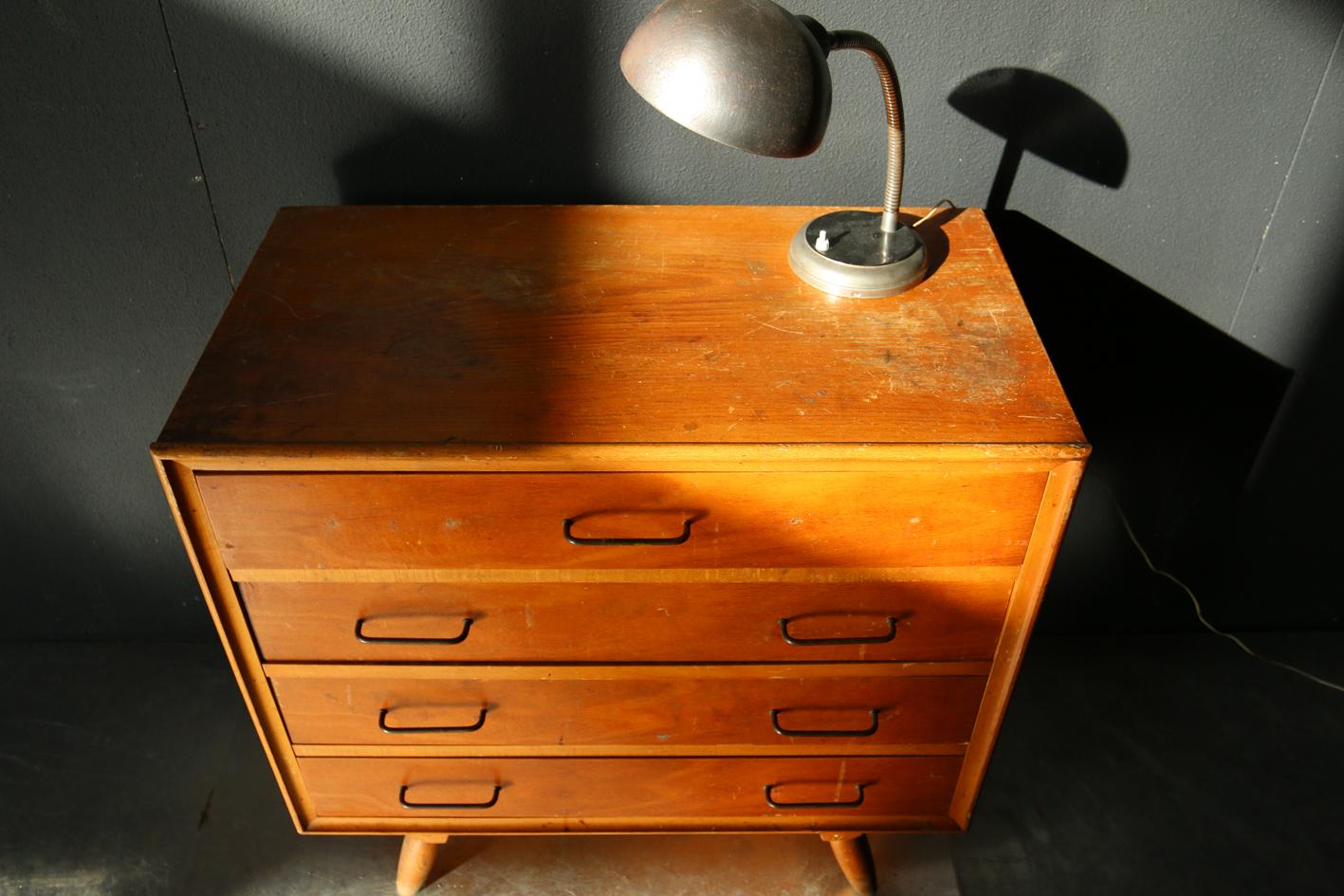 Industrieel Retro Vintage houten ladekast jaren 60   Dehuiszwaluw