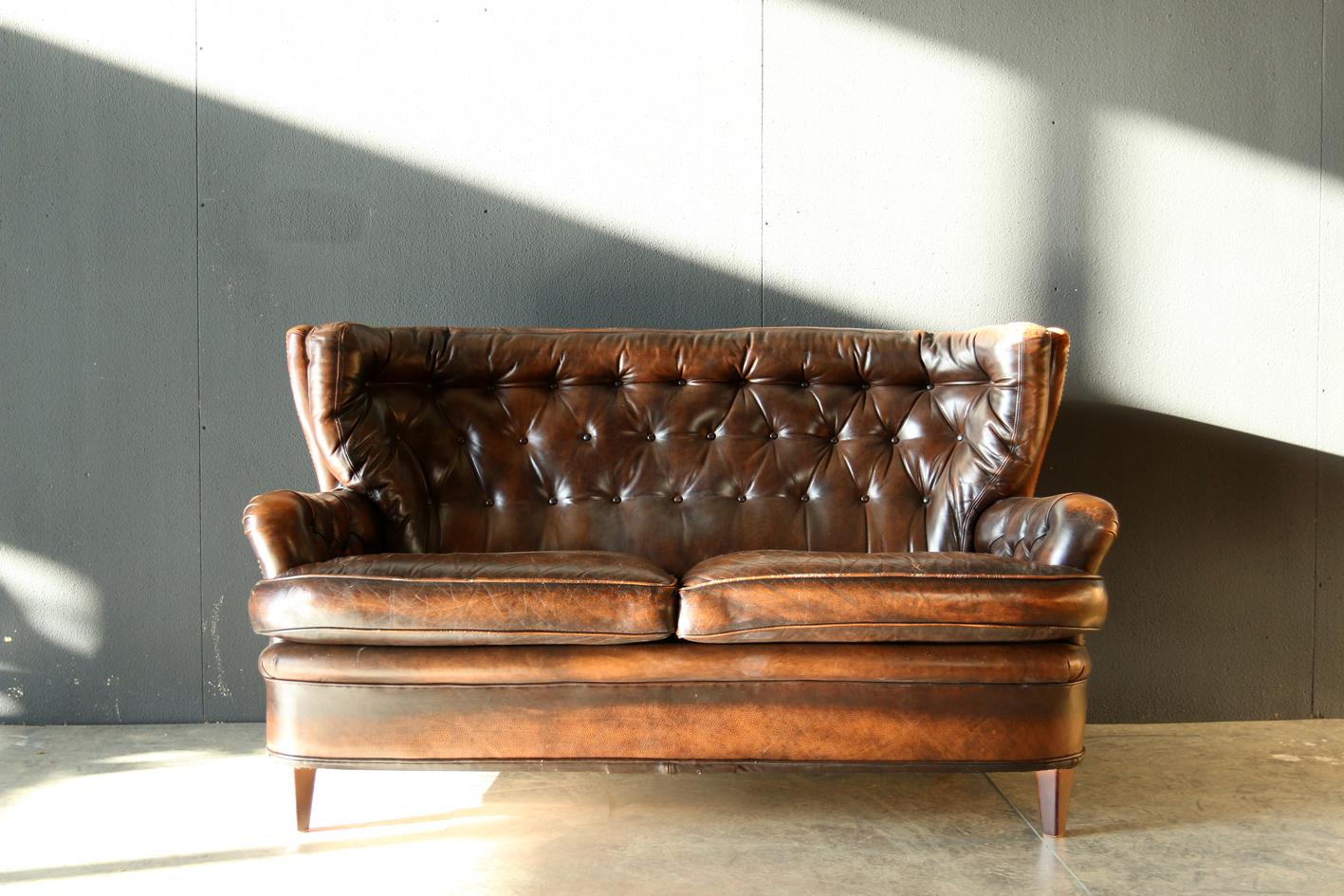 Leren Vintage Bank.Retro Vintage Leren Chesterfield Supervorm Bank Jaren 60