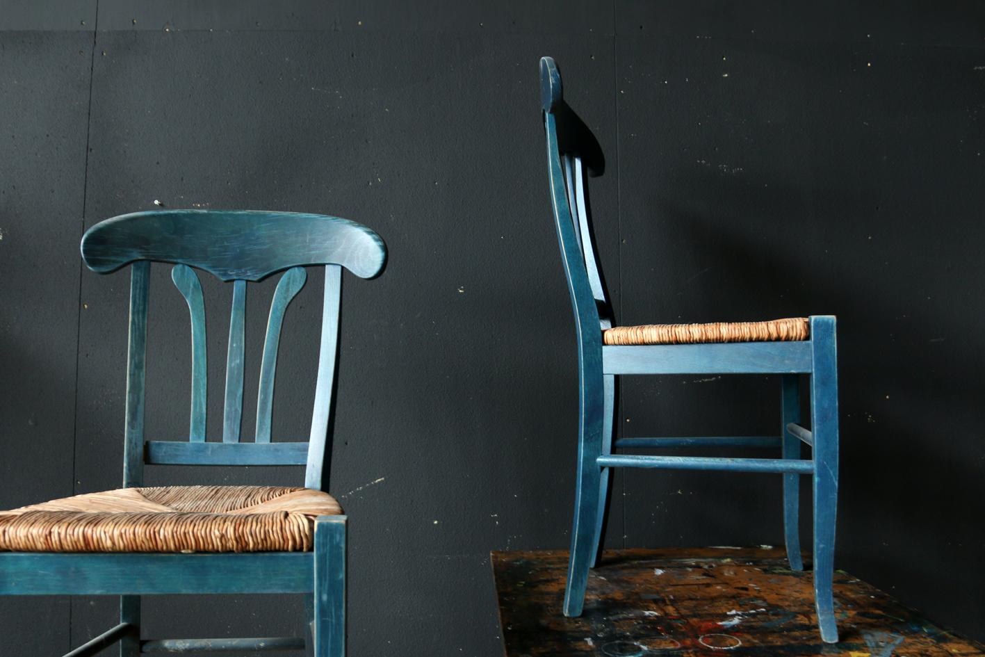 Retro Vintage Bistro stoelen hout / riet Blauw u2013 Groen ...