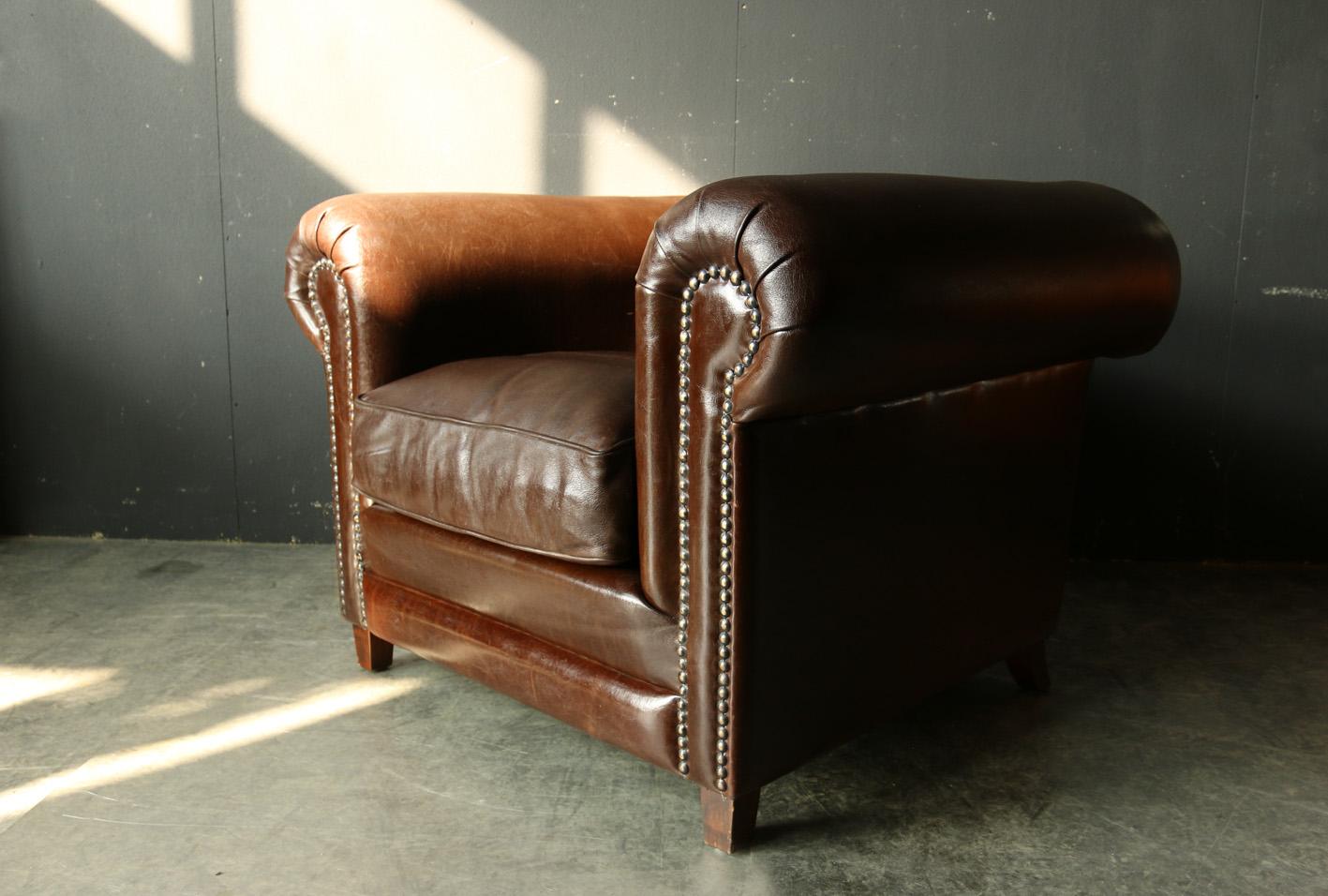 retro vintage xl chesterfield dik leren fauteuil dehuiszwaluw. Black Bedroom Furniture Sets. Home Design Ideas