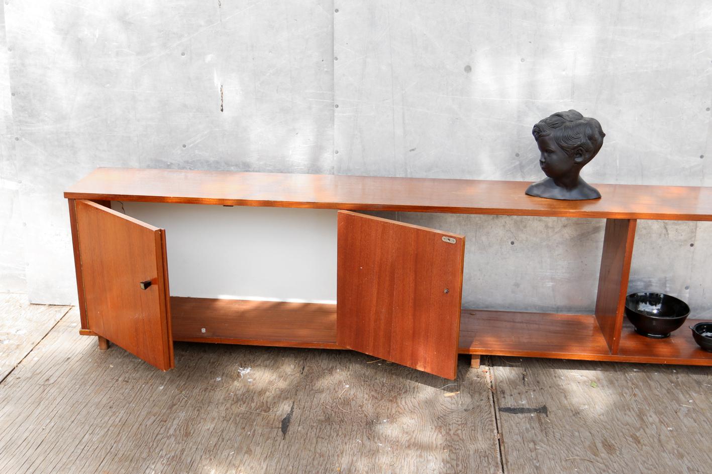 Retro vintage strak lang laag dressoir jaren 60 teakhout for Jaren 60 meubelen
