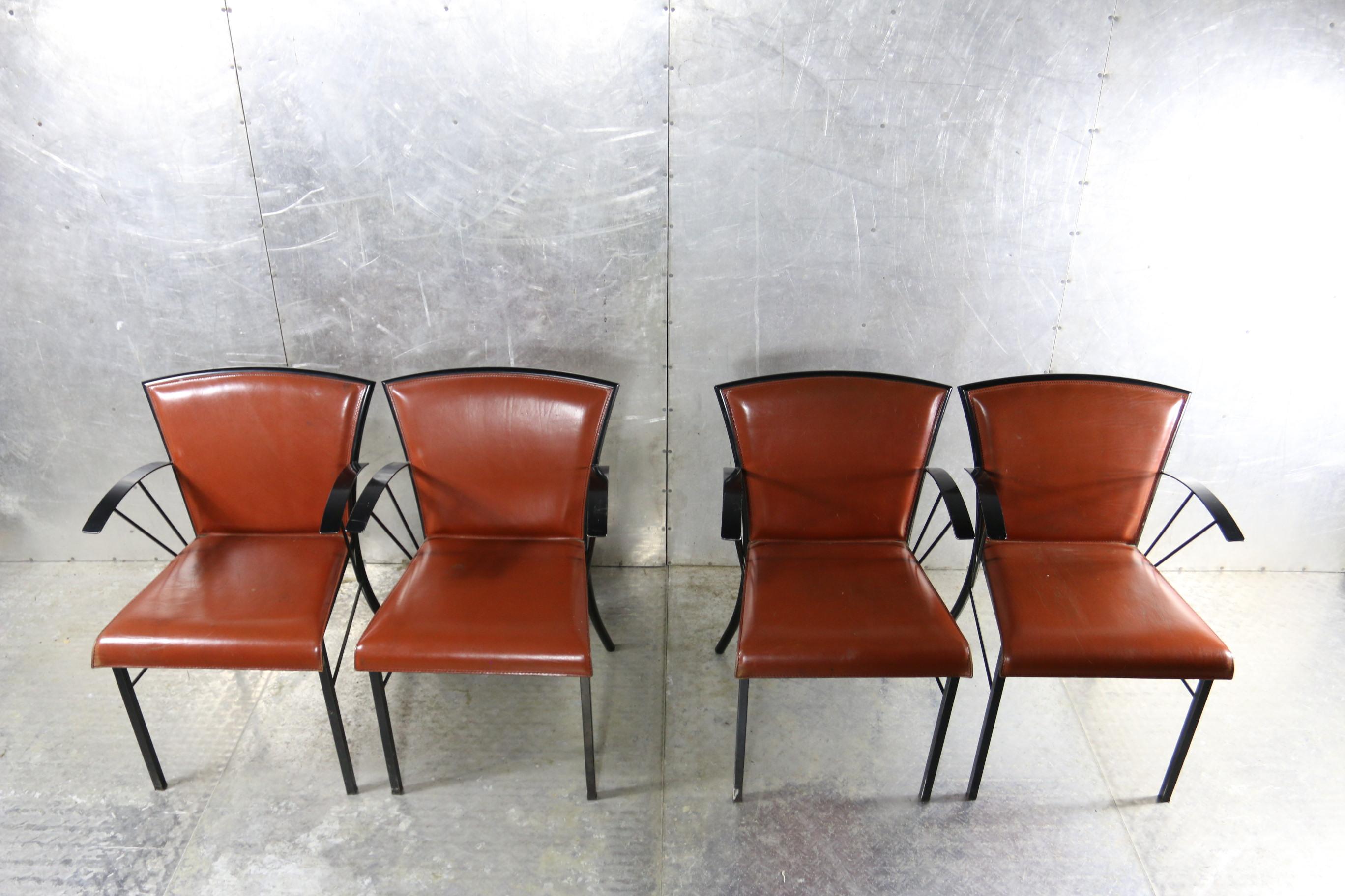 Vintage Design Eetkamerstoelen.Top Arrben Italy Vintage Design Metaal Tuigleer Stoelen