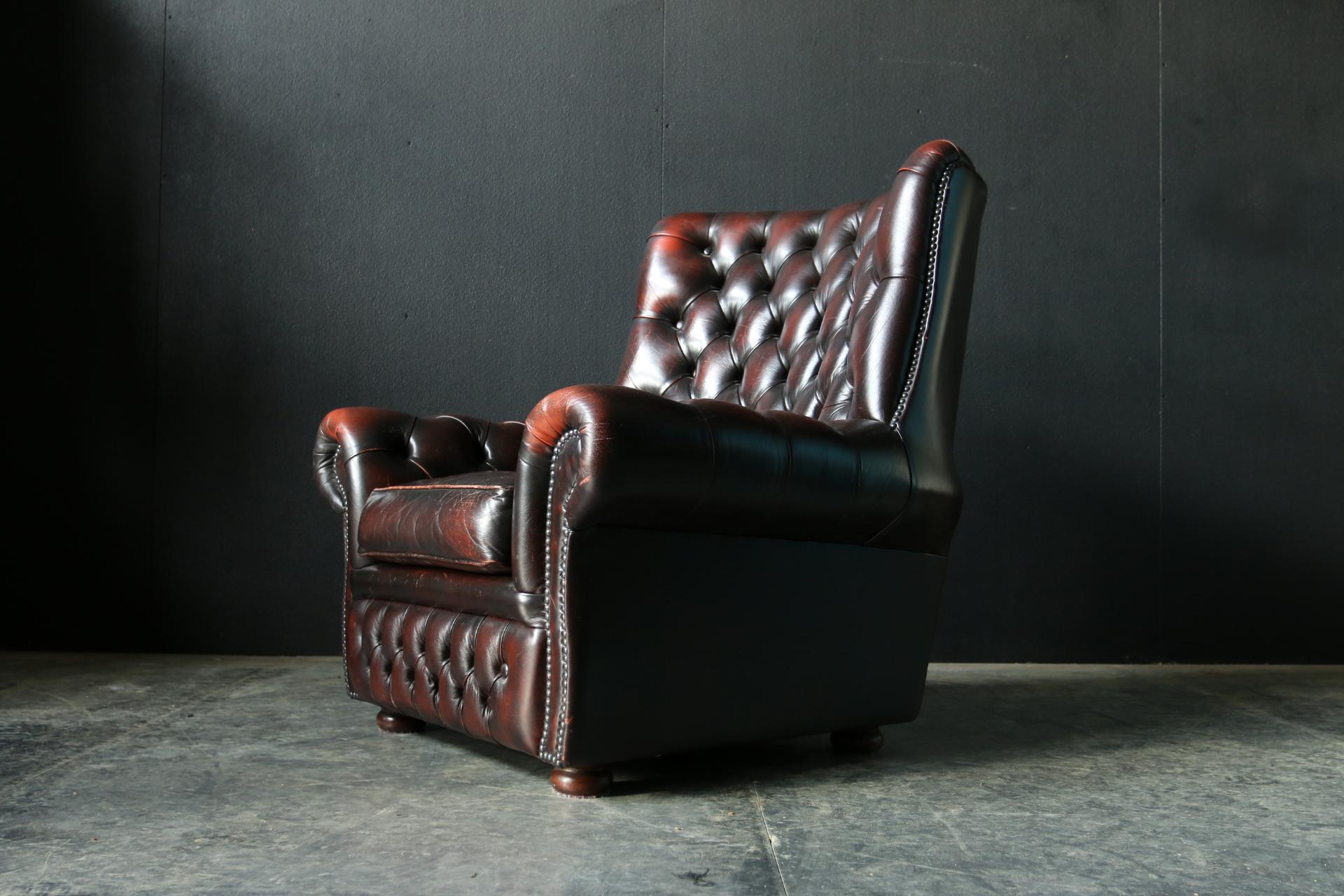 Vintage design chesterfield leren gecapitonneerde fauteuil