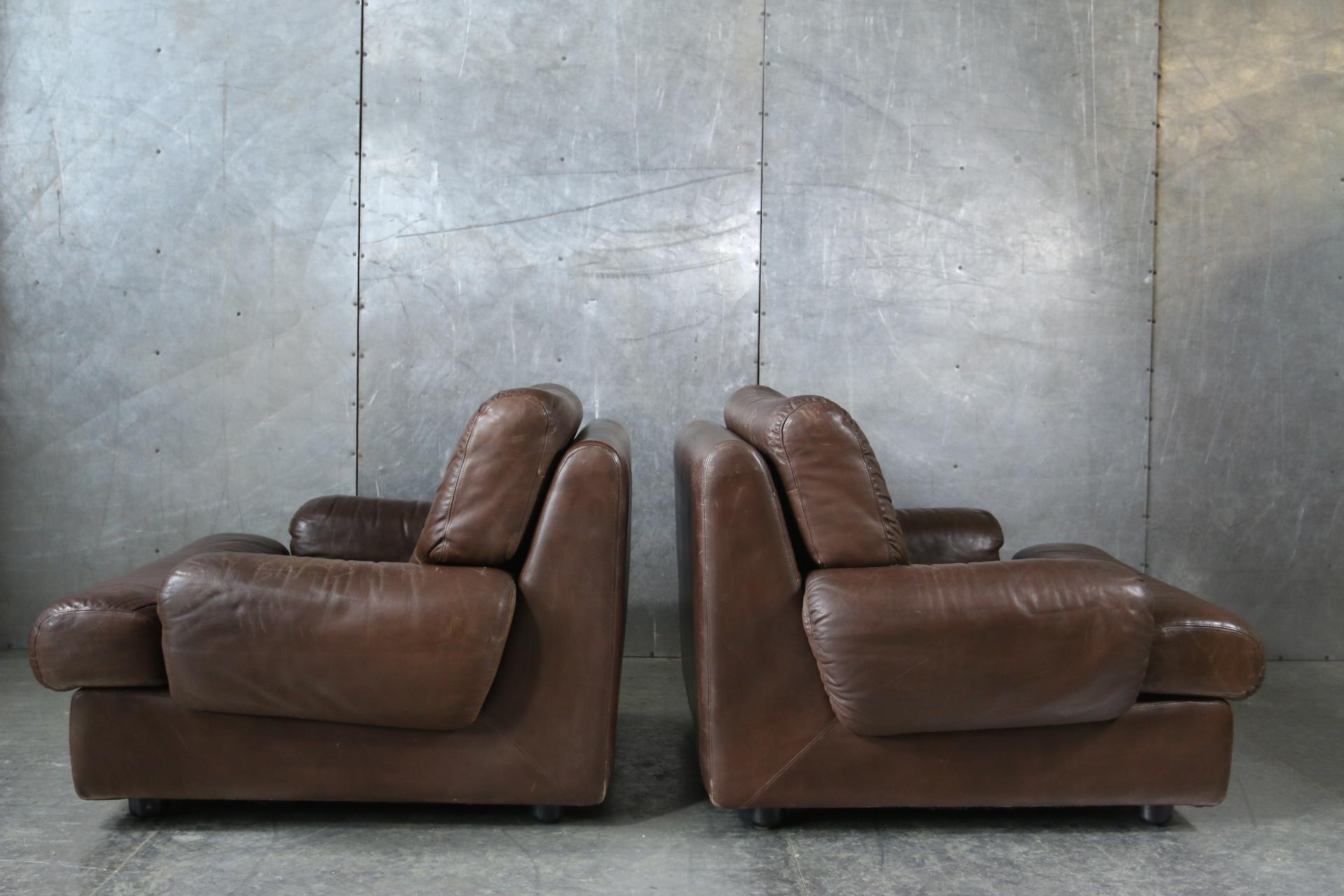 Lederen Relax Draaifauteuil.Vette Stoere Vintage Design Leren Relax Fauteuils Jaren 70