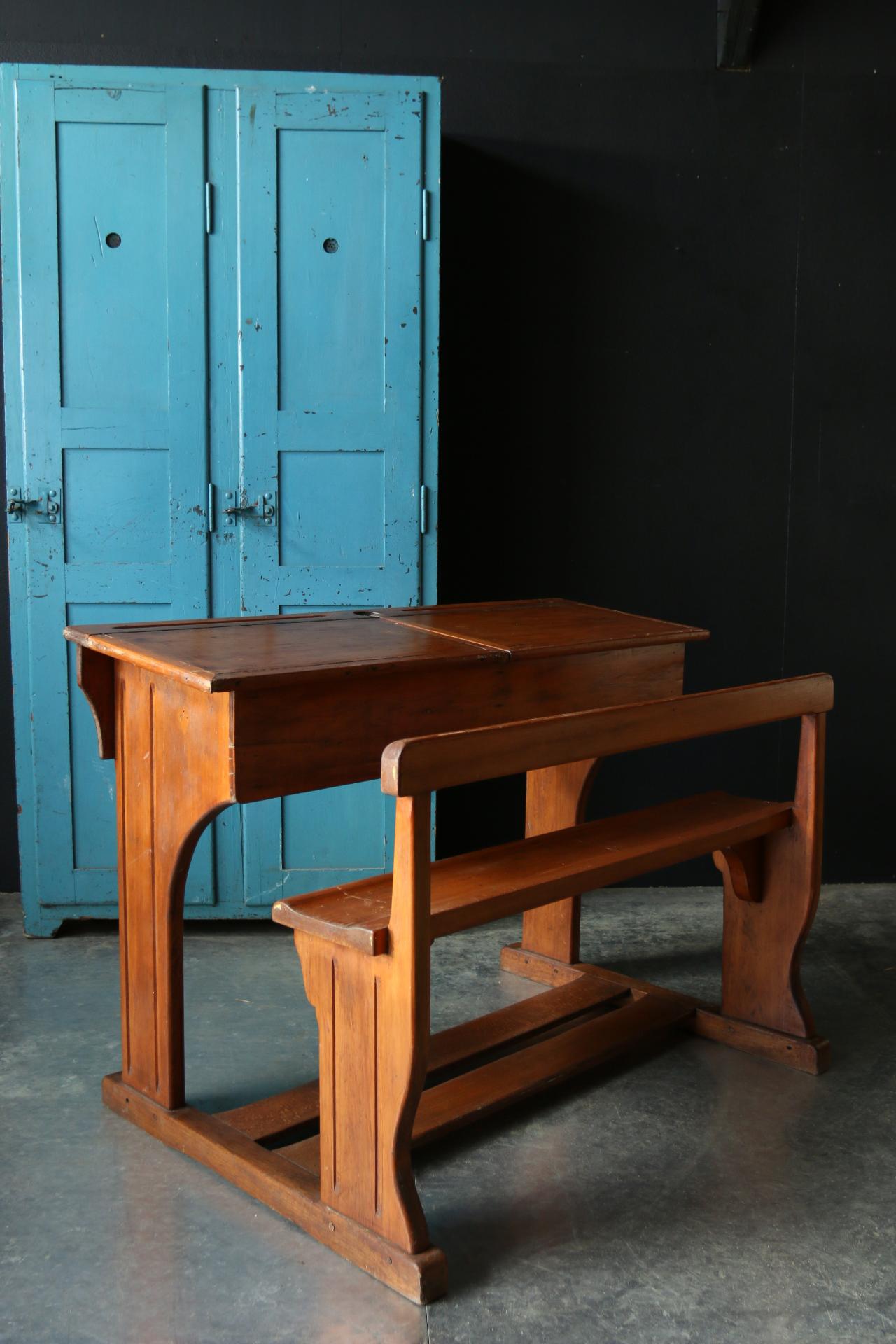 Antiek vintage dubbele houten lessenaar met bank jaren 20 dehuiszwaluw - Bank jaren ...