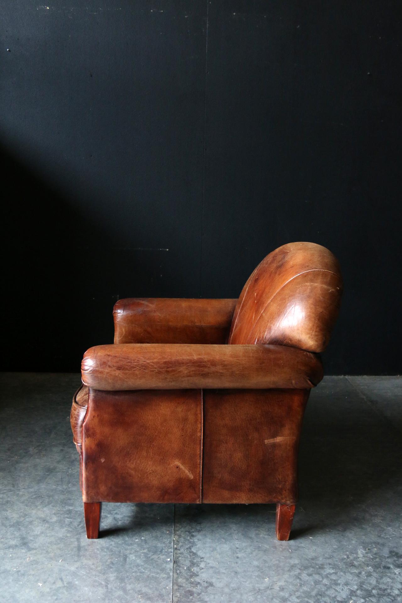 Welp Fantastische Vintage Design Schapenleren clubfauteuil – Dehuiszwaluw IF-31