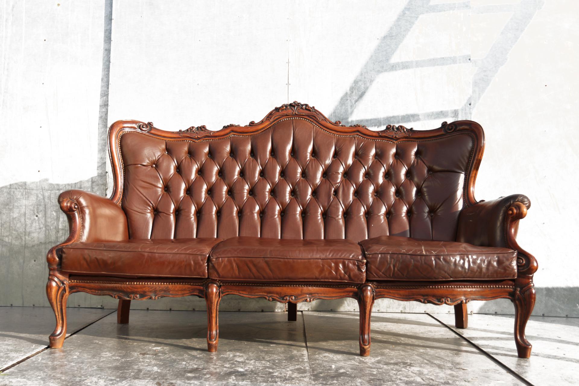 Gave vintage barok leren fauteuil uit de jaren klassiek en for Barok eetstoelen