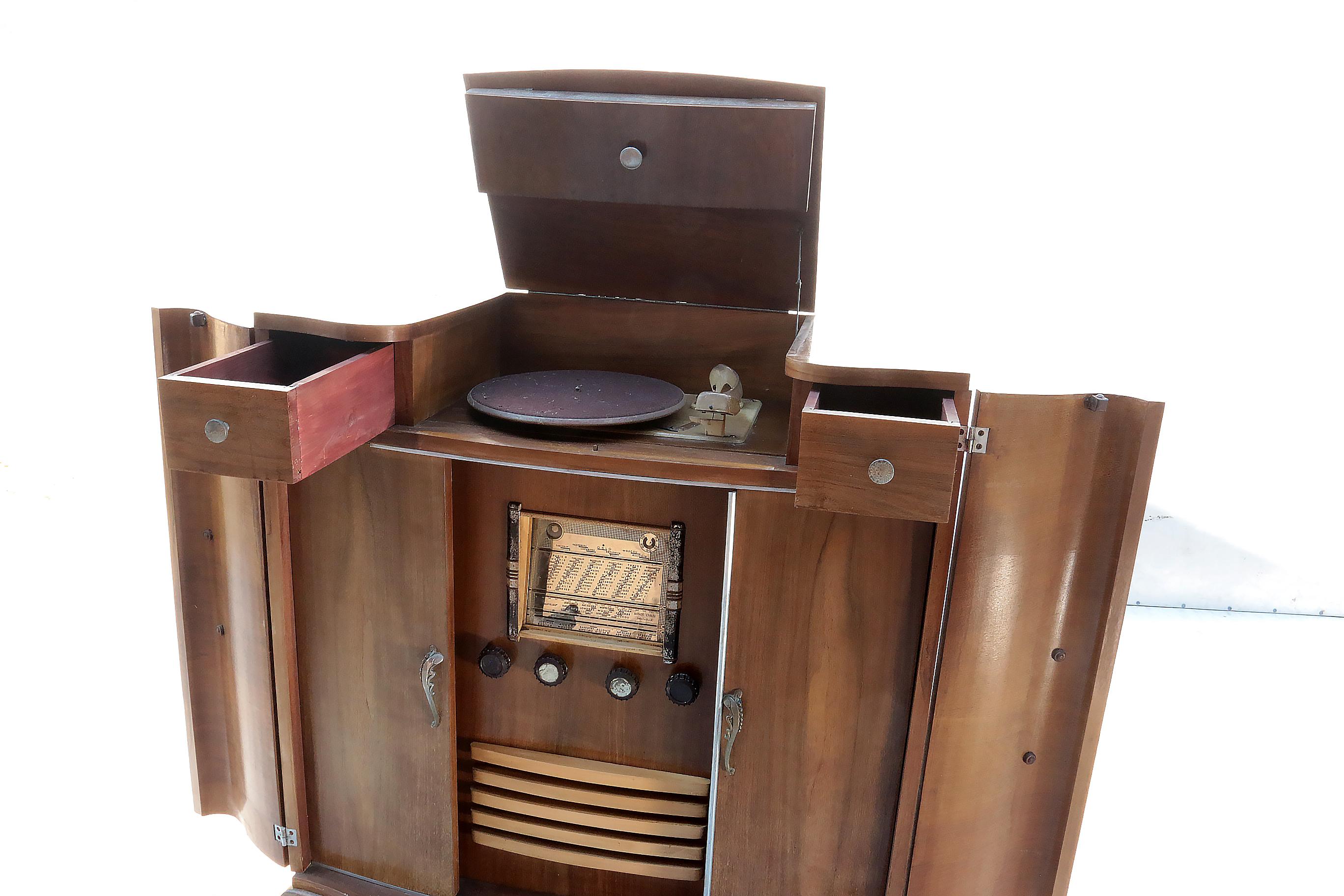 Radio Meubel Jaren 60.Art Deco Design Radio Pick Up Meubel Jaren 30 Museumstuk